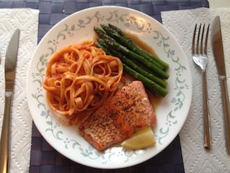 salmon linguini