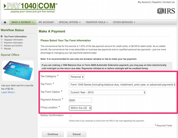 pay1040 form 1