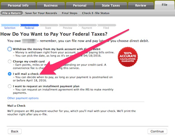 turbotax check option